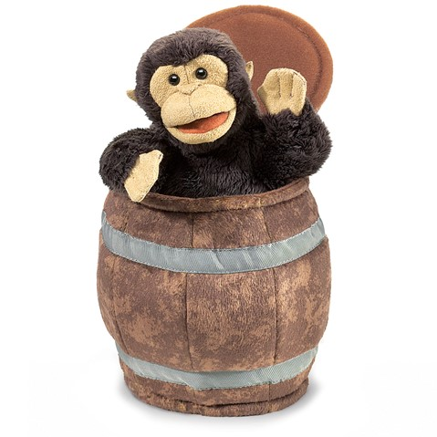 Monkey in Barrel Hand Puppet  |  Folkmanis