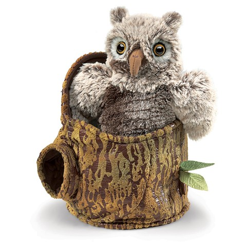 Owlet in Tree Stump Hand Puppet  |  Folkmanis
