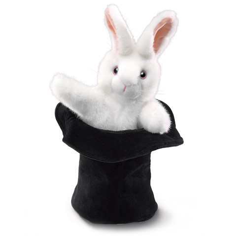 Rabbit In Hat Hand Puppet  |  Folkmanis