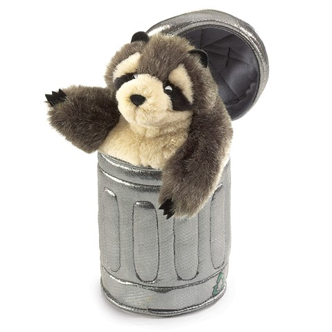 Raccoon in Garbage Can Hand Puppet  |  Folkmanis