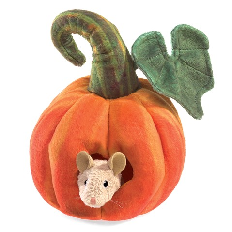 Mouse in Pumpkin Finger Puppet  |  Folkmanis