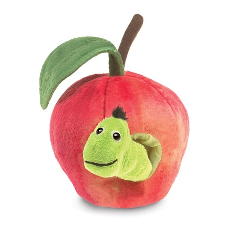 Worm in Apple Finger Puppet  |  Folkmanis