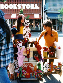 Judy Folkmanis selling puppets on Telegraph Avenue in Berkeley, CA.